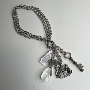 """Chico's Silvertone """"35th Anniversary"""" Double Link Chain Charm Necklace - NWT"""