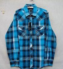 Z7696 Men's Ely Blue Plaid Button Down Long Sleeve Shirt-L