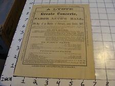 "1877 program:  ""A LYSTE GREATE CONCERTE AT NABOR LUCE'S HALL"" Grand Rapids, MI"