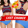 Neon Blue Swimsuit Bikini Halter Top Aztec Geometric High Neck Swimwear S-2XL US