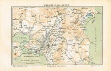 Karte UMGEBUNG von ATHEN / ATTIKA 1885 Original-Graphik