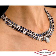 Estate Diamond 90.85ct Blue Sapphire 18K Gold Elegant Necklace 102.8 Grams NR
