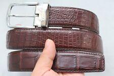 Unjointed -Dark Brown Genuine Alligator CROCODILE Belly Belt Skin Leather Men's