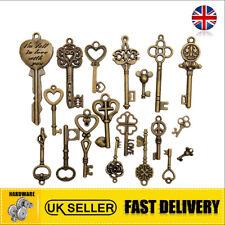 Set of 19 Antique Vintage Old Look Skeleton Key Pendant Heart Bow Lock Steampunk