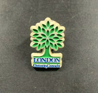 London Ontario Canada pin, tree souvenir keepsake pin. Pushback. Good condition!