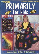 PRIMARY FOR KIDS ~ 5 Quick & Easy Afghans to Crochet ~ Leisure Arts #2609