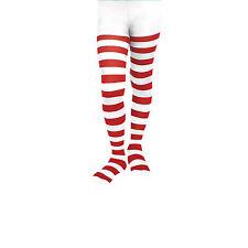 Girls / Ladies Striped Stripe Nerd Elf Xmas Tights (Red / White)