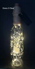 DRESS 3, HAND ETCHED GREEN BOTTLE BATTERY FREE UK POSTAGE