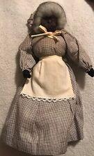 Vintage Black Americana Rag Cloth Doll Linen Apron Brown Floral Dress Handmade