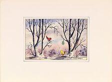 Stanley Brodey ( American,1920-2001) Original Watercolor Mixed Media Painting