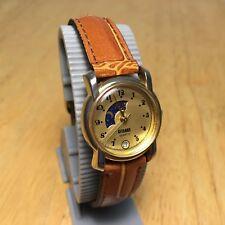 Vintage Gitano Lady Gold Tone Moon Phase Analog Quartz Watch Hour~Date~New Batt