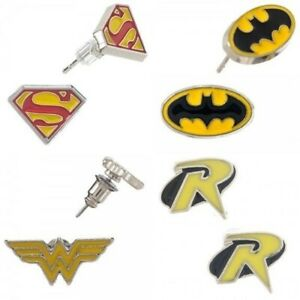 DC Comics Wonder Woman, Batman, Robin, Superman Logos 4 Earring Sets of 2 SEALED