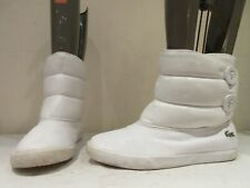 LACOSTE WHITE LEATHER SYNTHETIC PULL ON BOOTS UK 6 EU 39.5 (3446)