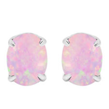 Oval Cut Australian Pink Fire Opal Genuine Sterling Silver Earring Studs