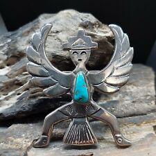 FELIX JOE Navajo Cast Sterling Silver Turquoise Knifewing Kachina Pendant Brooch