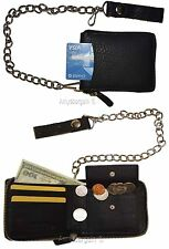 Biker's Chain wallet. Leather Zip around wallet, Motorcycle Trucker Biker wallet