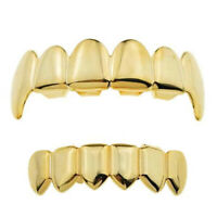 14k Gold Plated Fang Grillz Bottom 6 six Teeth Vampire Hip Hop Mouth Grills