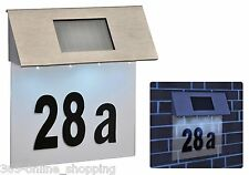 Solar Powered Led Illuminated House Door Number Light Wall Plaque Modern Silver
