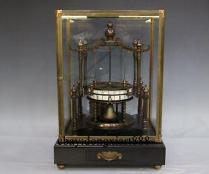 Europe Retro Red Wood Base Bronze Mechanical Swing-Twine Remontoir Table Clock