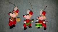 Vintage Mouse Band Set Of 3 Wooden Christmas Ornaments Hand Painted