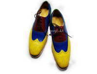 Men's Handmade Multi color Leather Shoes, Dress Formal wing tip Brogue Shoes