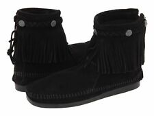 Minnetonka Women's Hi Top Back Zip Up Fringe Ankle Boot Black
