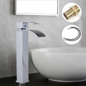 Tall Waterfall Bathroom Taps Basin Sink Mixer Tap Counter Top Chrome Mono Fauce