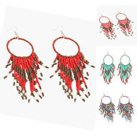Elegant Beaded Tassel Circle Charm Hook Earrings Women Jewelry Birthday Gift Pre