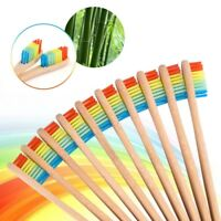 Eco Vegan Bamboo Toothbrush Rainbow Soft Medium Bristle Adult Child Oral Care H7