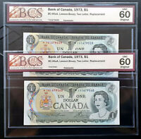 1973 BANK OF CANADA $1 Consecutive Pair Replacement Note *IV1679559-60 BC-46aA