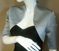 Silver/Grey Satin Bolero Lined Shrug/Jacket/Stole/Shawl/Wrap/Tippet 3/4 Sleeves