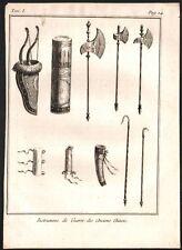 Chine. Instruments de guerre des anciens chinois. Gravure sur acier. 1785