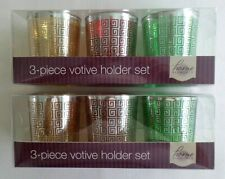 2 Sets of Home Elements, 3 Piece Christmas Votive Holders. Greek Key design