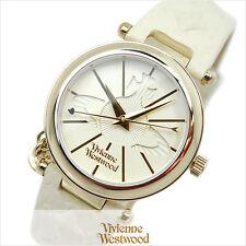 Vivienne Westwood Orb II VV006WHWH White Dial Leather Strap Ladies Watch