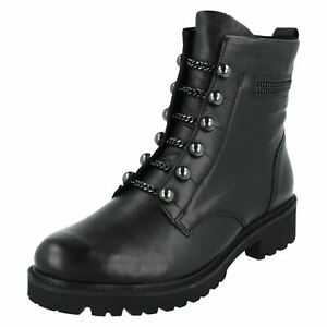 LADIES REMONTE ZIP LIGHTWEIGHT WARM LINED LEATHER MILITARY ANKLE BOOTS D8670