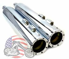 """4.5"""" 4-1/2"""" Revolver Chrome Slip-on Mufflers Set Exhaust Pipes Harley Touring"""