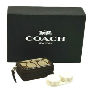Coach Khaki/Mahogany Canvas Leather Signature Contact Lens Travel Case F61877