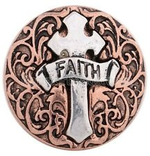 Copper Silver Cross Faith Religious 20mm Snap Charm For Ginger Snaps Jewelry