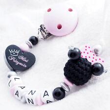 Schnullerkette mit Namen? Mini Prinzessin Maus Babygeschenk Mädchen rosa Schleif