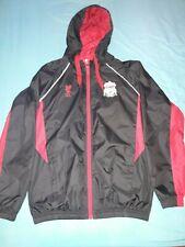 Boys men LIVERPOOL FC Football Club hooded RAIN JACKET Black & red pit 2 pit 22