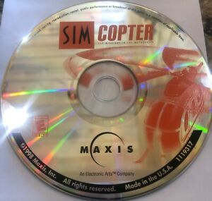 SimCopter 1998 PC Maxis Helicopter Management Simulation Game Disc is Perfect