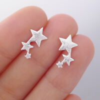 925 Sterling Silver Matte Bright Puffy 3 Lucky Rising Stars Line Stud Earrings