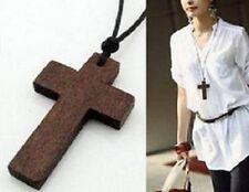 Collar Cruz De Madera-religión-Regalo-Cadena - Con Cable-Cristo Crucifijo