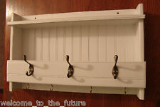 "24"" Handcrafted Wooden wall mount Mail Key Organizer Coat Rack, Shelf Hook White"