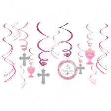 RELIGIOUS First Communion PINK HANGING SWIRL DECORATIONS (12) ~ Party Supplies