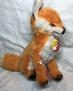 """8"""" Tall Steiff Plush """"Cosy Fuzzy"""" Fox Adorable With Ear Button Tag & Chest #Si"""