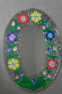 Superb Hand Crafted Mosaic Mirror With Color Flowers Design 70 x 50 Cm Wide