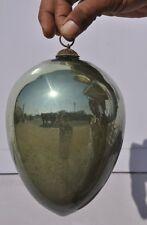 Rare Vintage 8'' Original Heavy Green Oval Shape German/French Glass Kugle