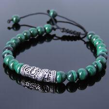 Bracelet Malachite Sterling Silver Dragon Men's Powerful Chakra Stones Braided