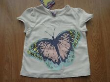 43318074 John Lewis girls butterfly sequin white short sleeve tshirt, age 2,new with  tags